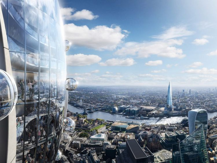 Viewing galleries will offer visitors a chance to ride in glass pods on the building's facade