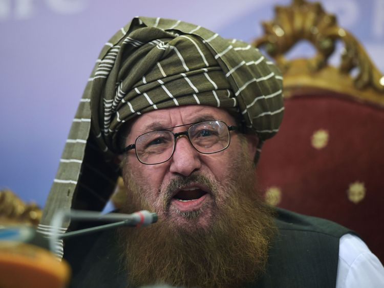Maulana Sami ul-Haq speaking in August 2017
