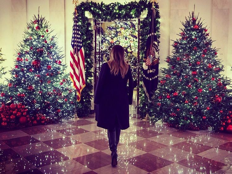 There are plenty of trees in the White House this Christmas. Pic: Melania Trump/Twitter