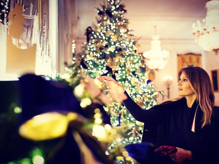 Mrs Trump led a team of volunteers and staff to decorate the White House. Pic: Melania Trump/Twitter