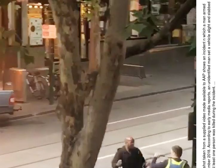 A man armed with a knife attacked several people on Bourke Street in Melbourne