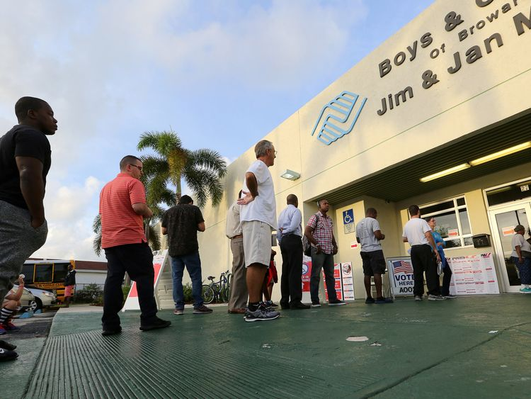 Voters line up to vote as polls opened in the U.S. midterm congressional and gubernatorial elections in Deerfield Beach, Florida
