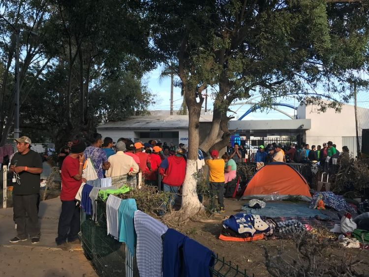 Conditions in the camp are suffering as crowds build