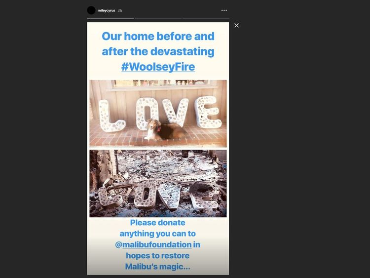 Miley Cyrus posted this before and after picture of her home following the Woolsey Fire in California. Pic: Instagram/@mileycyrus
