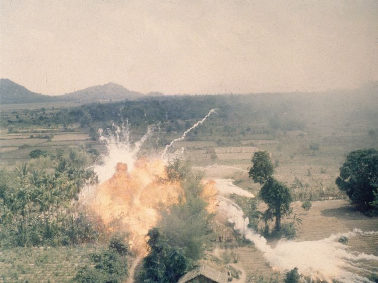 American napalm bombs exploding in fields south of Saigon during the Vietnam war. Napalm kills by asphyxiation and burning and was first used by the US against Japan in WW II. (Photo by Hulton Archive/Getty Images)