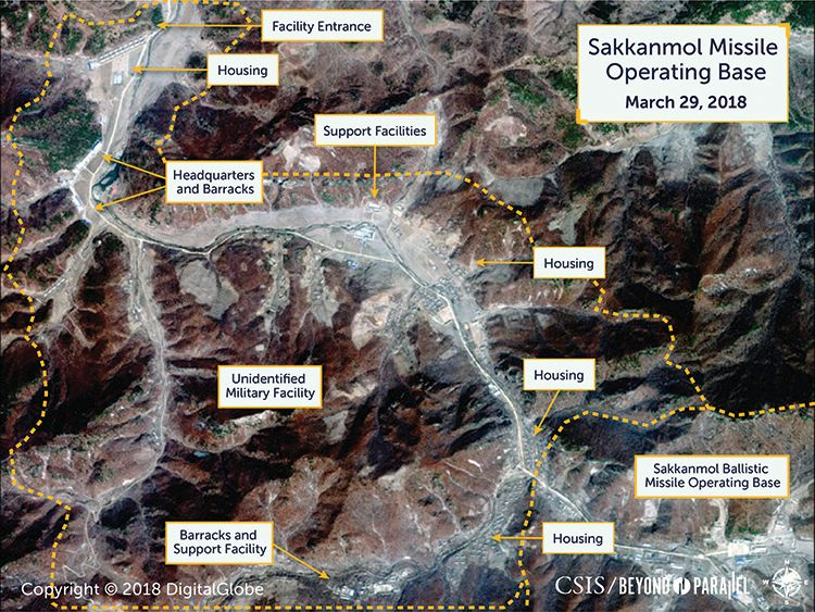 The Sakkanmol missile operating base. Pic: DigitalGlobe/CSIS