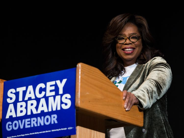 Oprah doorknocks in support of possible first black female USA  governor
