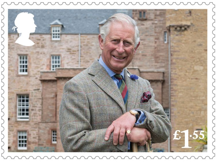 One stamp features Charles by himself
