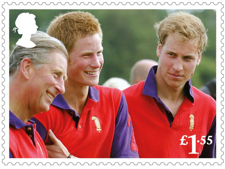 Charles shares a joke with sons William at Harry at a polo event