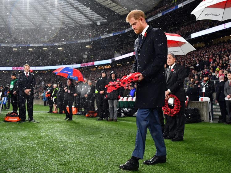 Prince Harry laid a wreath at Twickenham