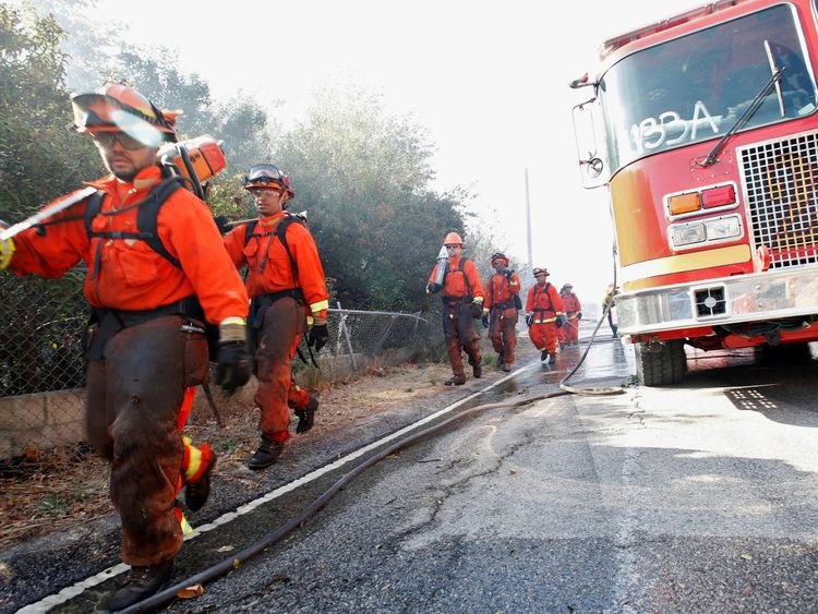 Prison firefighting crews battle the Woolsey fire in West Hills, Southern California, U.S. November 11, 2018