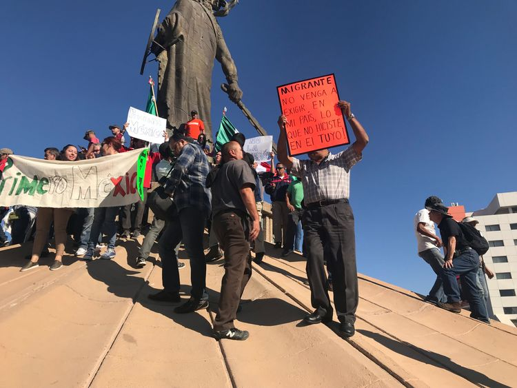Tijuana protests - mexico migrants - sky news pics