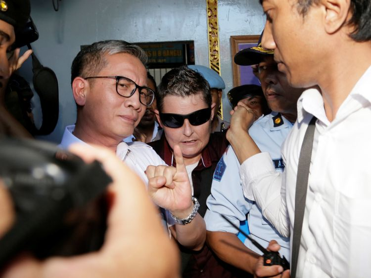 Australian Renae Lawrence (C), a member of the notorious Bali Nine drug smuggling ring, is released from prison in Bangli Regency, Bali