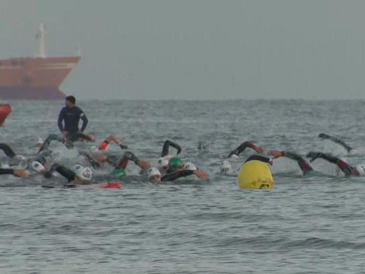 Ross Edgley was joined by dozens of other swimmers as he completed his challenge