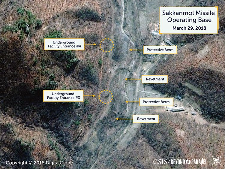 Revetments outside the tunnel entrances are large enough to support an emergency missile launch. Pic: DigitalGlobe/CSIS