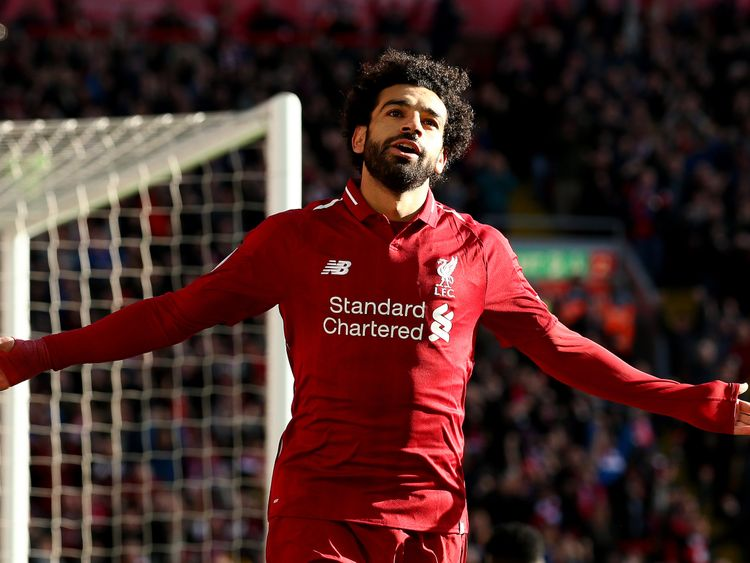 The state depicts Salah during one of his goal celebrations