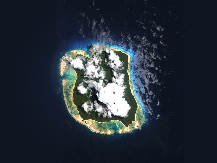 North Sentinel Island, home of the Sentinelese, as seen from above. Pic: © Survival