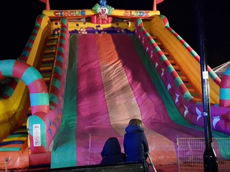 Eight children injured as fairground inflatable slide collapses at fireworks display