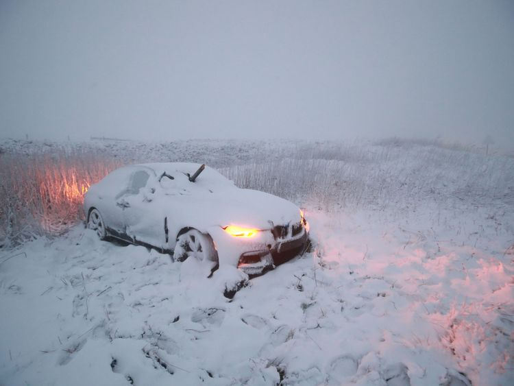 Snow has fallen heavily in the Peak District