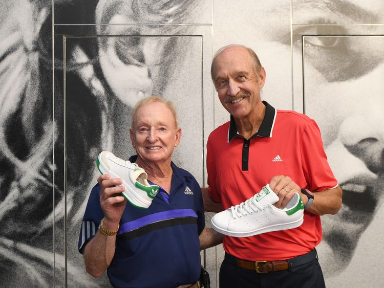 Rod Laver (left) and Stan Smith with the trainers named in his honour