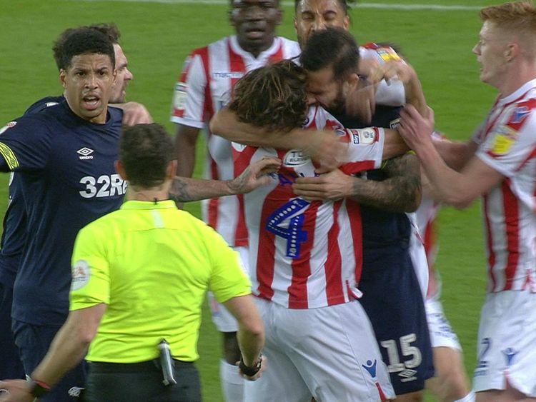Joe Allen said Bradley Johnson bit his shirt, not his shoulder. Pic: Sky Sports