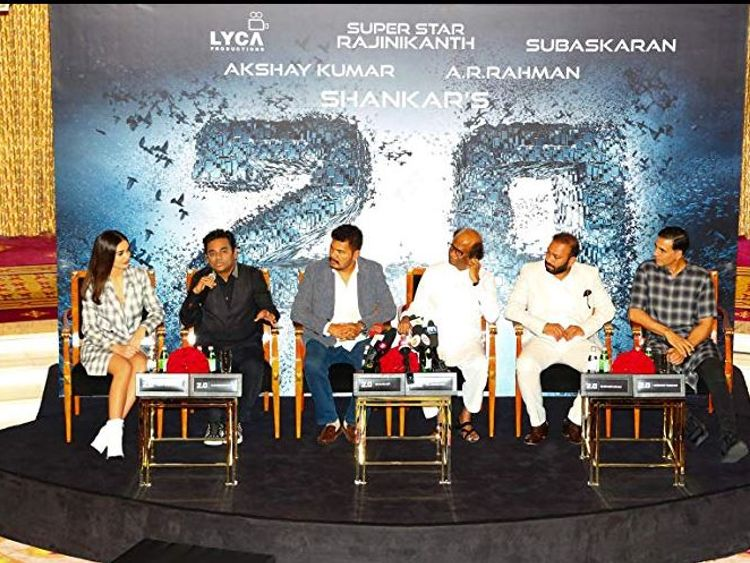 A Subaskaran, AR Rahman, Akshay Kumar, Rajinikanth, S Shankar and Amy Jackson at event for 2.0