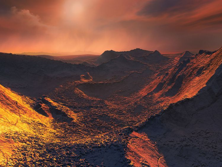 "Barnard's star under the orange tinted light from the frozen ""super-Earth"" discovered orbiting it"