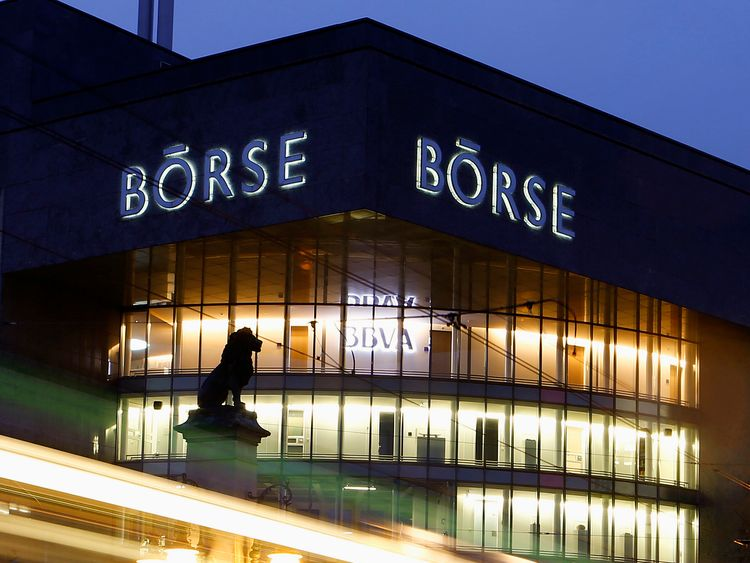 A longtime exposure shows traffic flowing past the building of the Swiss stock exchange in Zurich 4/11/2013