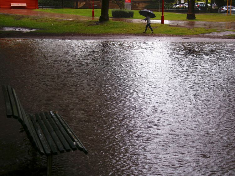 Heavy rainfall has flooded public parks in Sydney