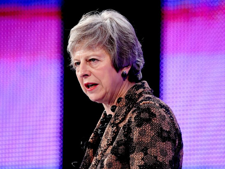 Theresa May speaks at the Confederation of British Industry's (CBI) annual conference in London