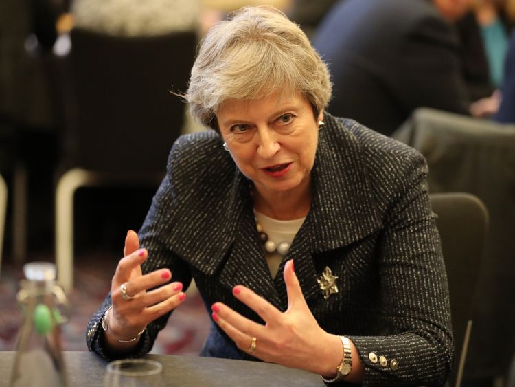 Prime Minister Theresa May at Queen's University in Belfast, during her visit to Northern Ireland