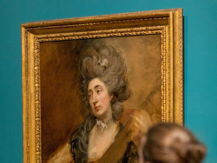 Rediscovered portrait by artist Thomas Gainsborough of his daughter Margaret playing a cittern, at the National Portrait Gallery