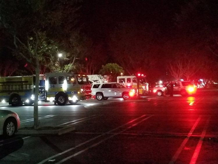 First responders outside Borderline Bar and Grill in Thousand Oaks, California