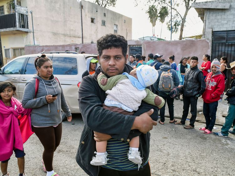 Some of the central Americans who have arrived in Tijuana hoping to claim asylum in the US