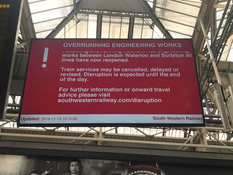 SWR told passengers not to travel as none of its trains were running between Surbiton and London Waterloo