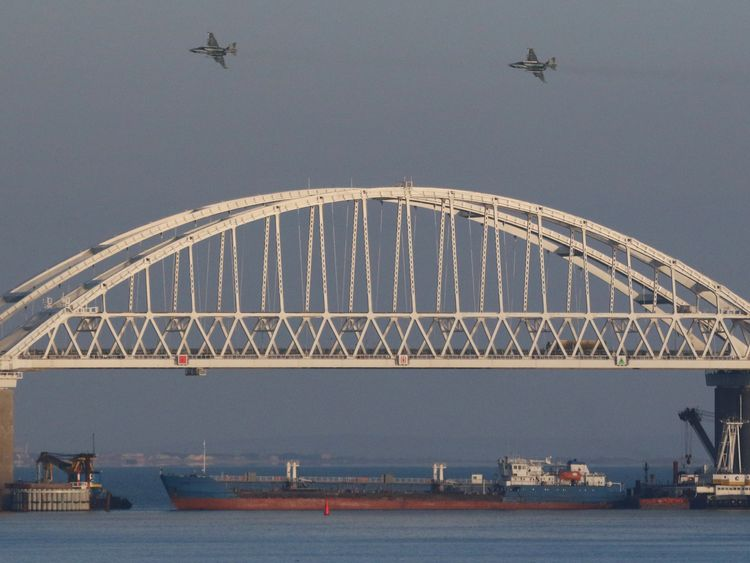 A Russian cargo ship blocked Ukraine's boats from passing