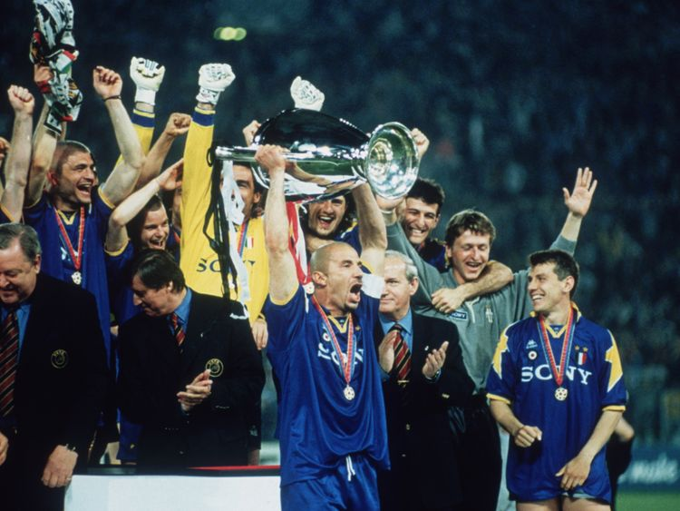 Gianluca Vialli lifting the Champions League trophy after Juventus beat Ajax in 1996
