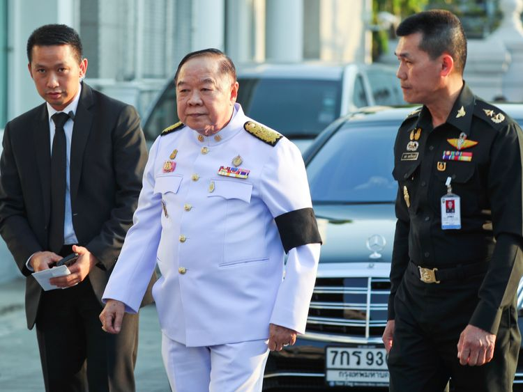 Thailand's Deputy PM Prawit Wongsuwan arrives for a funeral of Vichai Srivaddhanaprabha