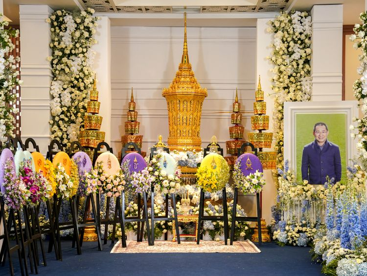 The eight-sided golden urn that is taking centre stage at the funeral of Vichai Srivaddhanaprabha