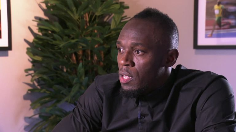Usain Bolt supported by Paul Pogba and Raheem Sterling over football career
