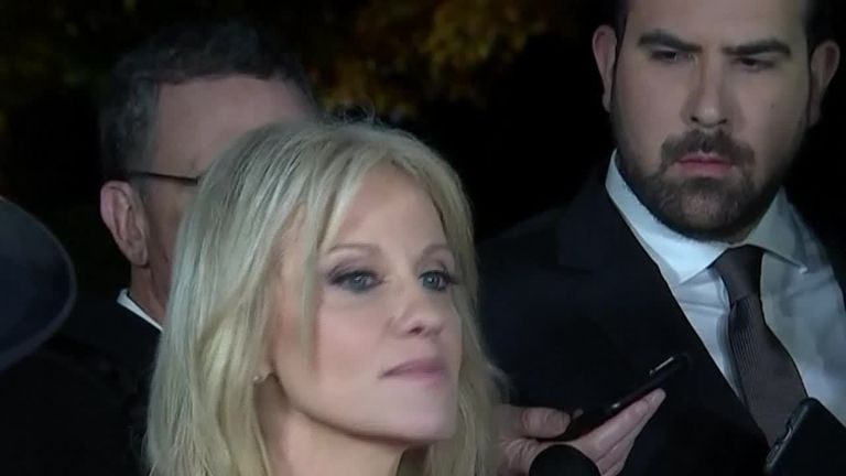 Kellyanne Conway,  Counselor to the President, speaks to reporters after TV networks projected Democratic control of the House, while Republicans held the Senate.