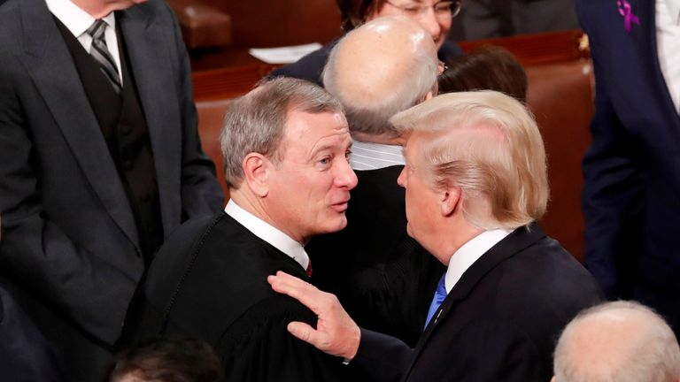 Donald Trump and Chief Justice John Roberts