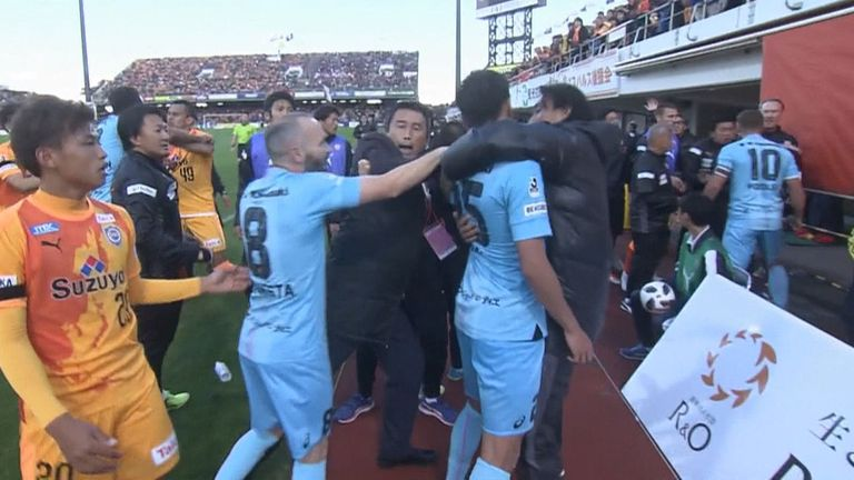 WATCH: Lukas Podolski, Andres Iniesta involved in J-League brawl | Football News |