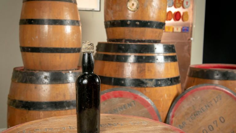 The 150-year-old bottle of Tennent's stout, which was discovered by diver Jim Anderson as part of a shipwreck off the coast of Melbourne