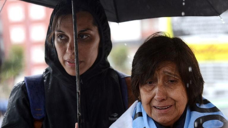 Relatives of the 44 crew members of the missing at sea ARA San Juan submarine react outside the Argentine Naval Base where the submarine sailed from, in Mar del Plata, Argentina November 17, 2018. REUTERS/Marina Devo