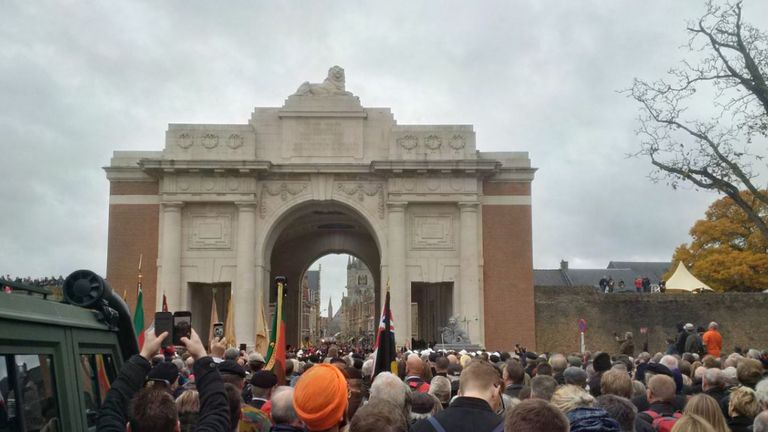 Crowds gather at the Menin Gate in Belgium