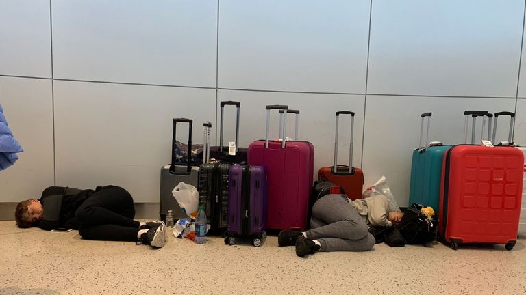 Rosie Slater tweeted this picture of her children sleeping on an airport floor