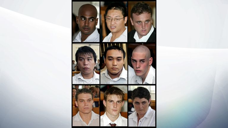 The Bali Nine during their trial in Denpasar