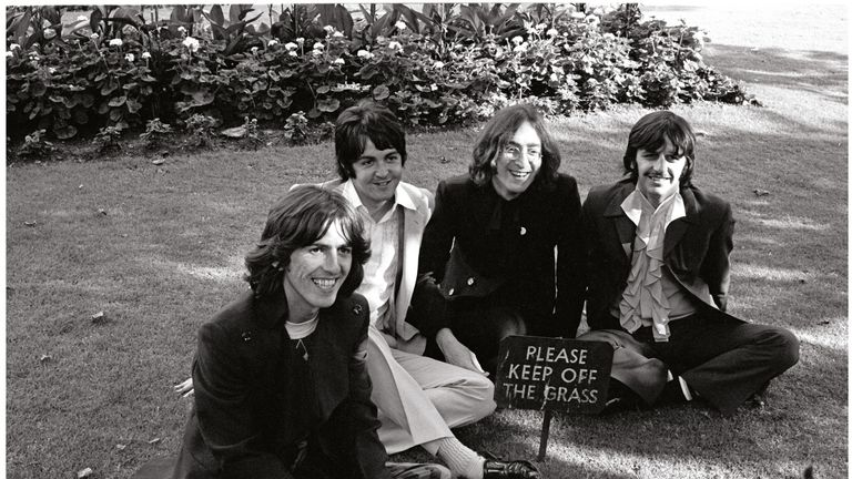 Beatles photo session. St Pancras Old Church, London. 28 July 1968. Pic: Apple Corps