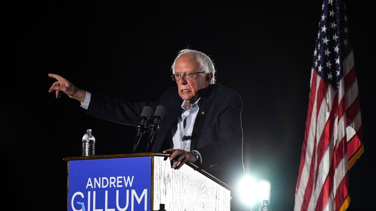 U.S. Sen. Bernie Sanders addresses rally in support of Democratic candidate Andrew Gillum